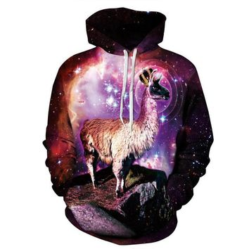 Llama Celestial Grandeur Outer Space Stars Galaxy Cosmic All Over Print Hoodie Sweater