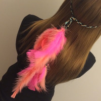 Pink, Coral, Tribal Headband, Native American, Feather Headband,Feather hair comb, bridal hair comb, feather extension, feather clip, hippie