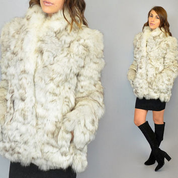 vtg ARCTIC FOX FUR feathered patchwork 70's boho avant garde shaggy coat, extra small-medium