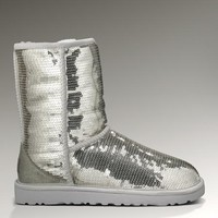 Ugg Classic Short Sparkles 3161 Silver Boots