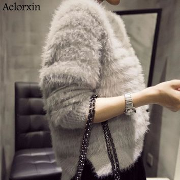 Female Sweater 2016 New High Quality Winter Imitation Mink Cashmere Pullover Furry Hippocampal Hair Sweater Jacket Female Split