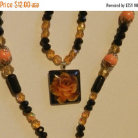 CIJ SALE Yellow Rose Cabochon Necklace  V4696