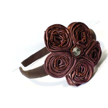 Brown Flower Headband,  Chocolate Satin Swirl Flower with Crystal Center Headband, Crystal Embellished Headband