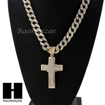 "Men Iced Out CZ Cross Pendant 30"" Iced Out Heavy Cuban Link Chain N004"