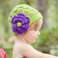 Little Girls Hats for Babies to 7 years old Green and Purple with Flower