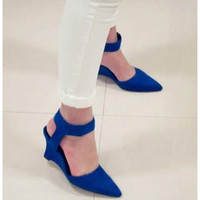 2016 Women Wedges Fashion Brand Ankle Pointed Toe Pumps Sexy Sandal High Heels Black Blue Orange White Women Shoes Summer#WYL106