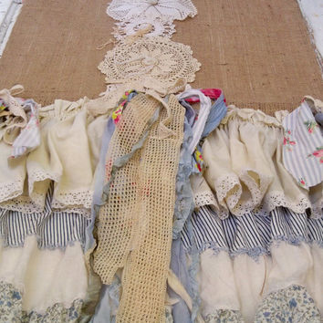 Table runner shabby chic ruffles salvaged fabrics burlap crochet pieces farmhouse ooak Anita Spero