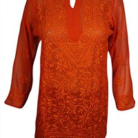 Mogul Interior Womens Tunic Top Cotton Chikan Floral Embroidered Bohemian Kurti (Chest 40)