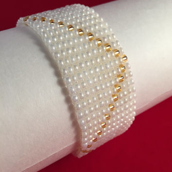Beautiful HandMade Pearl & Gold Cross HandWeaved Bracelet/Arm Candy