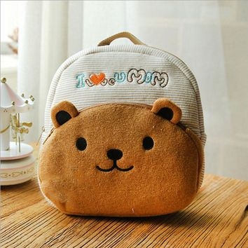 2017 New 3D Cartoon Children Schoolbags Cute Animal Backpacks for Girls Boys Plush Kindergarten Bags Lovely bear shape Kids Book