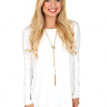 PIKO: Off White Love On Top Long Sleeve Tunic | Monday Dress Boutique