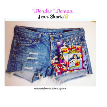 Wonderwoman superhero Jean Shorts. Made 4 u! Special DC fabric. Comic book, super hero,  punk, rock, studs, hipster.