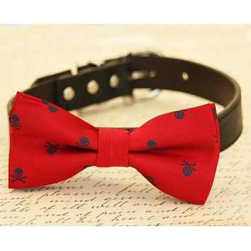 Red Dog Bow Tie attached to collar, Red wedding, dog lovers, skull, Red and Navy