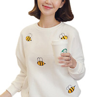 White Bee Pattern Round Neck Ribbed Trim Pullover Sweatshirt
