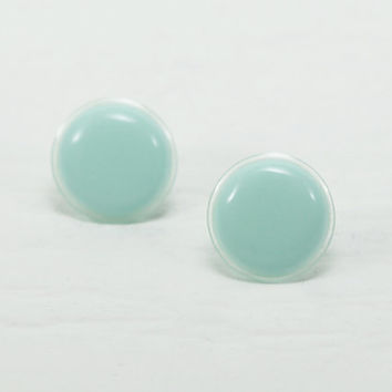 Mint Stud Earrings 18mm - Mint Green Earrings - Mint Green Studs - Mint Green Round Post Earrings - Wedding Bride Bridesmaids Gifts