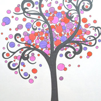 Swirly Black Tree with Colored Circles 9x12 Marker Drawing, Colorful Tree Circle Art, Swirly Circle Drawing, Gift Idea Wall Decor
