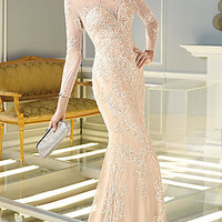 Floor Length Sequin Embellished Long Sleeve Dress