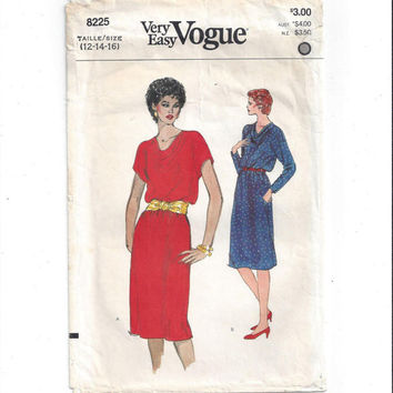 Very Easy Vogue 8225 Pattern for Misses' Dress, Size 12, 14, 16 from 1980s, UNCUT, Cowl Neck, A Line, Vintage Pattern, Home Sewing Pattern