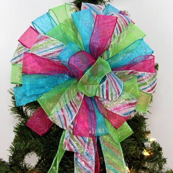 Hot Pink Turquoise Lime Glitter Sparkle Christmas Tree Topper Bow