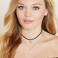 Heart Charm Layered Choker
