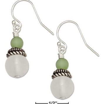 STERLING SILVER CLEAR WHITE AND OCEAN GREEN ROUND BEAD SEA GLASS EARRINGS