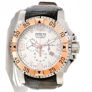 Invicta 10898 Men's Reserve Excursion Silver Tone Textured Dial Rose Gold Tone Bezel Chronograph Leather Strap Dive Watch