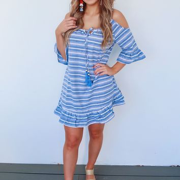 Go With The Flow Dress: Blue/White