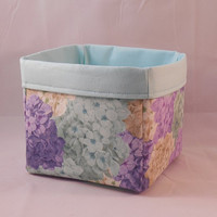 Pretty Hydrangea Themed Fabric Basket For Storage Or Gift Giving