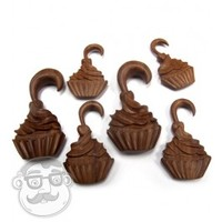 Hand Crafted Wooden Cupcake Hangers Plugs (8G - 00G) | UrbanBodyJewelry.com