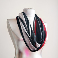 Handmade Men Striped Infinity Scarf - Summer Scarf - Black Grey Red Cotton Jersey