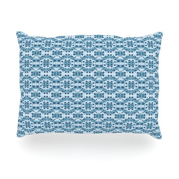 "Empire Ruhl ""Blue Circle Abstract"" Navy Geometric Oblong Pillow"