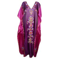 Mogul Womens Kaftan Double Shaded Silk Floral Embroidered Kashmiri Caftan Evening Wear Beach Caftans Dresses Kaftan Maxi Dress Pink Purple Cover Up Gift For Winter - Walmart.com