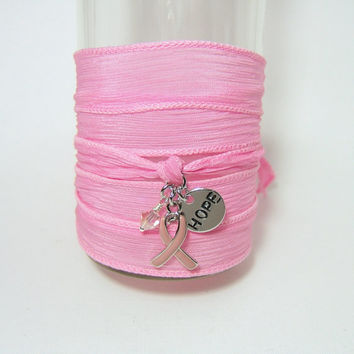 PINK Silk Wrap Bracelet - Silver Awareness Ribbon - Stamped Hope disc - Pink Crystal dangle - Breast Cancer Awareness - Hand Dyed Ribbon
