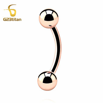 G23 Titanium Rose Gold Color BANANA Eyebrow Ear Tragus Cartilage Piercing Body Jewelry SGS Certification