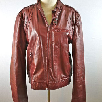 Leather Burgundy/Maroon/Rust Jacket Coat