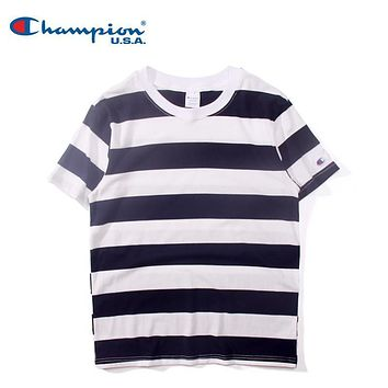 Mens Champion Striped T-shirt