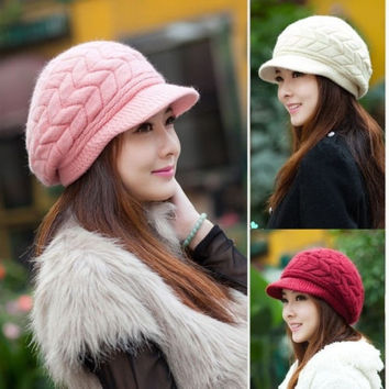 New Women Fashion Winter Warm Knitted Braided Ski Hat Visor Baggy Beanie = 1958000644