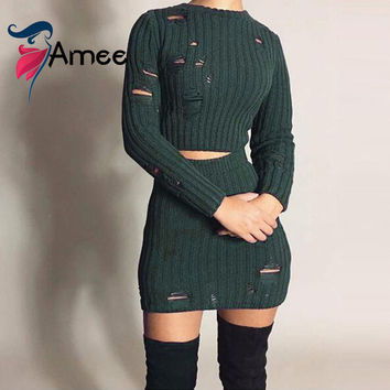 2017 Women Autumn 2 Piece knitted short Dress Female Vintage Sexy Long sleeves hollow out bodycon mini Dress Vestidos