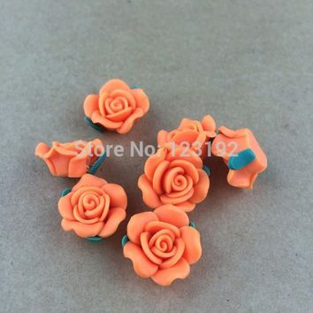 Free Shipping 30pcs Orange Color Polymer Fimo Rose Shape beads Clay Spacer Beads 15mm For Jewelry Making Craft DIY