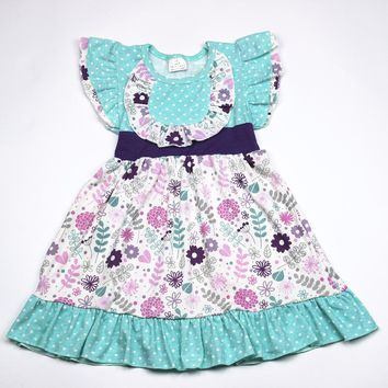 Aicton children clothes summer vintage flower baby dress 2018 lastest kids pearls floral dress