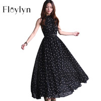 FLOYLYN 2017 Fashion Women's Polka Dots Maxi Dress Long Casual Summer Beach Chiffon Party Dresses Style Vestidos De Festa