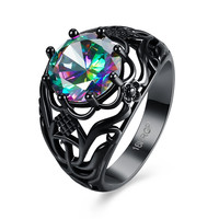 Rainbow Vintage Finger Rings for women 2017 Trendy Black Gold Plated AAA+ Colorful Fashion Jewelry Hot Engagement Wedding Ring