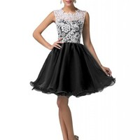 Grace Karin® Women's Black Lace Hollow-out Bodice Prom Evening Dresses CL6123-2