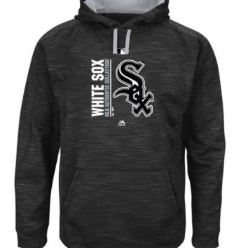 Men's Chicago White Sox Majestic Black/Gray Authentic Collection Team Icon Streak Fleece Pullover Hoodie