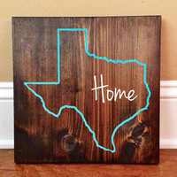 Texas Custom Wood Sign, Texas State Sign, Stained and Hand Painted, Personalize, Texas decor