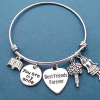 You are my Anne, You are my Diana, Book, Bouquet, Girl, Silver, Bangle, Bracelet, Birthday, Best friends, Gift, Jewelry