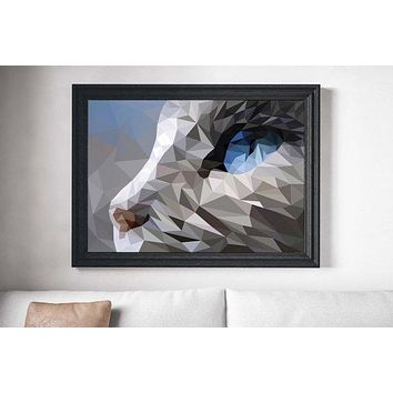 Polygonal Cubist Cat Painting Poster Art Print Canvas Print Wall Decor
