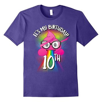 Dabbing Poop Emoji Funny 10th Birthday Party t shirt