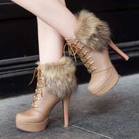 Winter fashion high-heeled fuzzy boots