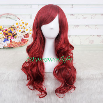 Princess Ariel Curly Wave Wine Red Cosplay Wig CC66B Free Shipping+a wig cap